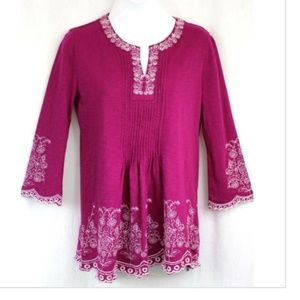 NWT CHARTER CLUB Knit Top Berry Autumn Blouse Med
